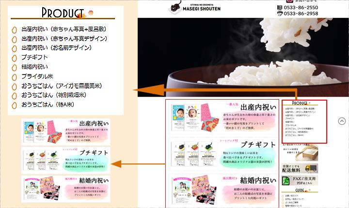 トップページの右側にあるメニューから、商品を選んでください。左側の出産内祝い(赤ちゃん写真+風呂敷)、プチギフト、結婚内祝いの画像ボタンからも購入ページへリンクされています。
