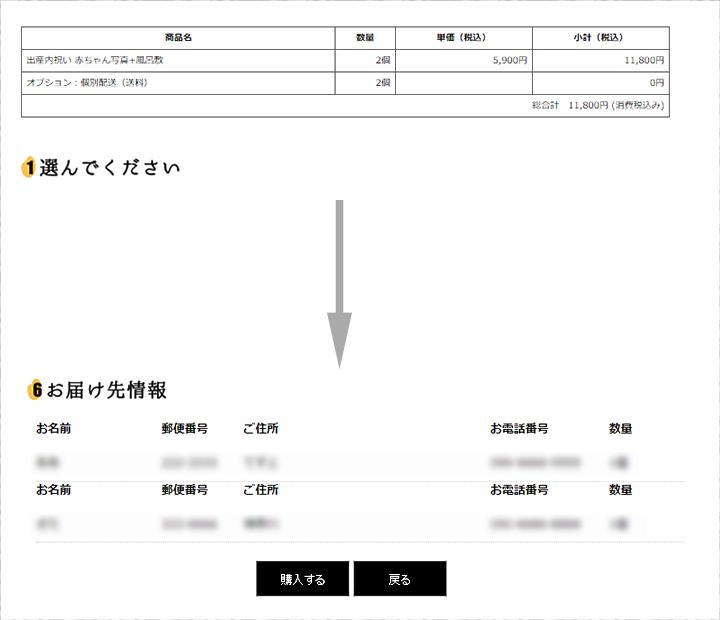 商品やオプションで選んだ項目、配送先など全ての項目の確認をして頂き、「購入する」ボタンをクリックしてください。